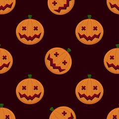 Smiling Pumpkins Seamless Halloween Pattern Bacjground