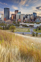 Skyline of Calgary, Alberta, Canada at sunset