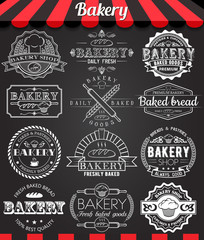 Set of vintage retro bakery logo badges and labels on blackboard