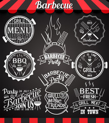 White barbecue party collection of labels on blackboard