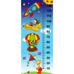 sky height measure(in original proportions 1:4) - vector illustration, eps