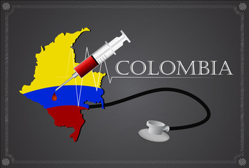 Map of Colombia with Stethoscope and syringe.