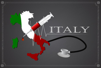Map of Italy with Stethoscope and syringe.