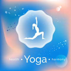 Vector yoga illustration. Name of yoga studio on an abstract background. Yoga class motto. Yoga sticker.  Yoga exercises for recreation, healthy lifestyle. Poster for yoga class or fitness center, SPA