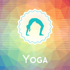 Vector yoga illustration. Name of yoga studio on a modern polygonal background. Yoga exercises for healthy lifestyle. Poster template for yoga class, fitness center, SPA. Backdrop with triangles.