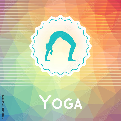 Vector Yoga Illustration Name Of Studio On A Modern Polygonal Background Exercises