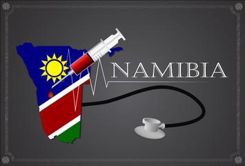 Map of Namibia with Stethoscope and syringe.