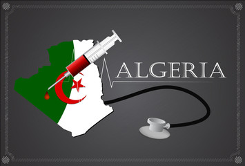 Map of  Algeria with Stethoscope and syringe.