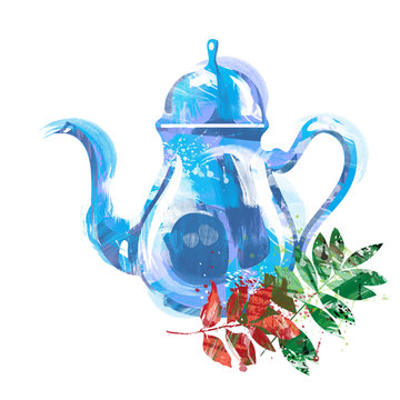 watercolor kettle with tea