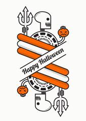 Skull Happy Halloween Poster, Halloween flat line background A4