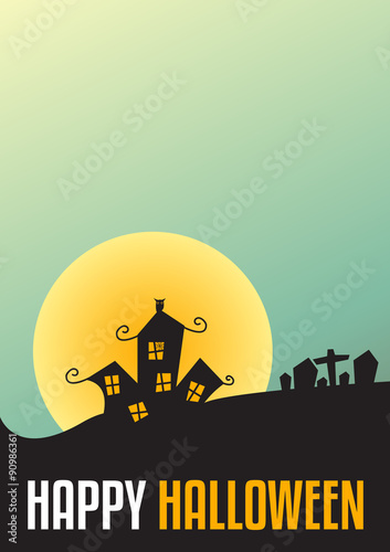 Happy Halloween Poster, Halloween Background A4 size, Vector ill ...