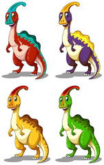 Dinosaur in four colors