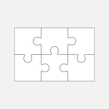 Six  jigsaw puzzle parts, blank vector 2x3 pieces