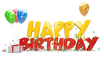 Happy Birthday celebration 3d isolated background.