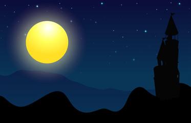 Silhouette scene of castle on fullmoon night