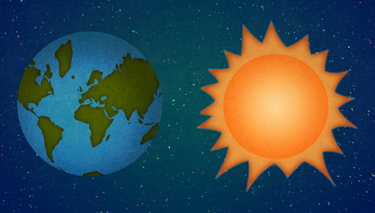 Astronomy. Earth and Sun in Space. Digital raster illustration.