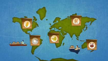 Food importation on earth.  World map infographic. Digital raster illustration.