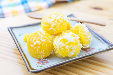 Toddy Palm Cake , delicious thai style cake, a beautiful yellow