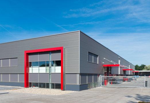 modern red warehouse