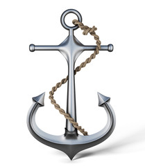 Anchor with rope on a white