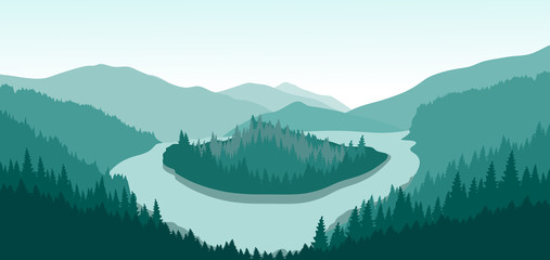 Beautiful mountain landscape with green island on a mountain river. Vector illustration.