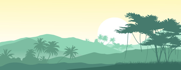 Sunrise in the tropical mountains. Vector illustration.