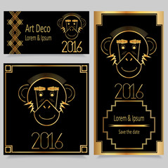 2016 Merry Christmas and Happy New Year. Art Deco Vintage Frames