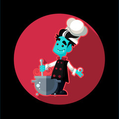 Round flat vector icon with vampire cook and kitchenware for hal