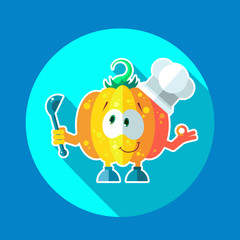 Round flat vector icon set with chef pumpkin and kitchenware