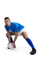 Confident rugby player playing