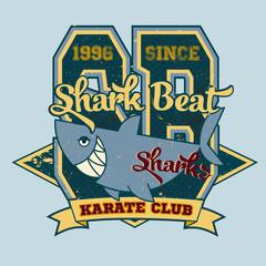 Vintage shark, t-shirt sport graphics