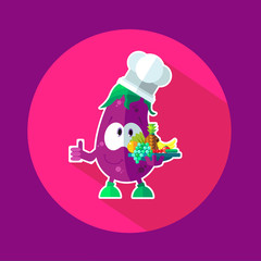Round flat vector icon with chef eggplant and kitchenware