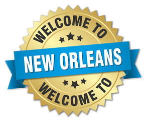 New Orleans 3d gold badge with blue ribbon