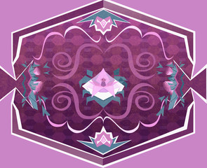 Floral Carpet with Flowers and Geometrical Objects. Digital background raster illustration