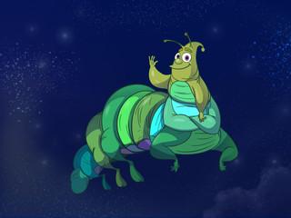 Caterpillar on the starry night sky backdrop. Digital background raster illustration.