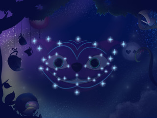 Kids book illustration. Cheshire cat constellation.