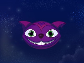 Cheshire cat big smiley purple face. Kids book digital background raster illustration