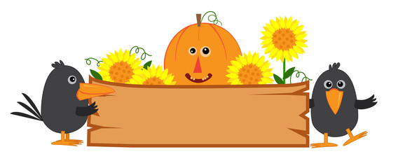 Cute Fall Sign - Cute fall banner with pumpkin, sunflowers and crows. Eps10