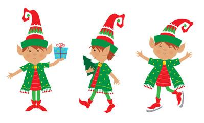 Elf Set - Cute set of three cheerful elves. Eps10