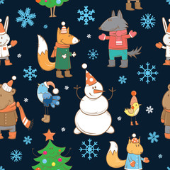 Winter vector seamless pattern with cartoon forest animals, snowmen and firtrees on a blue background.