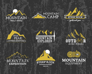 Set of Summer winter mountain explorer camp badge, logo and