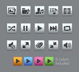 Media Player Icons - EPS file includes 5 Colors.