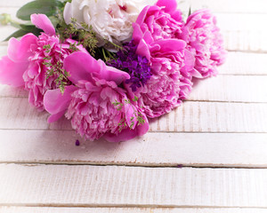 Background with fresh  pink and white peonies flowers