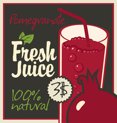 Vector banner with pomegranate and a glass of juice