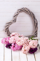 Postcard with fresh hyacinths  and  heart