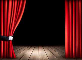 Theater stage with wooden floor and open red curtains. Vector.