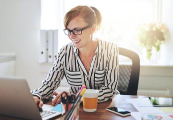 Female entrepreneur working on her e-business