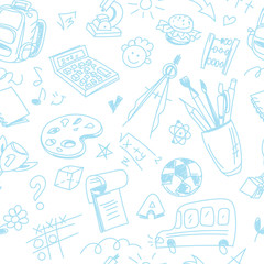Creative seamless school pattern with blue pen children drawings