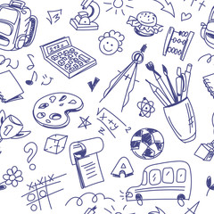 Creative seamless school pattern with pen drawings on white back