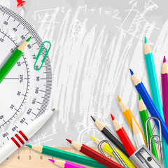 Grey vector chalk background with school supplies